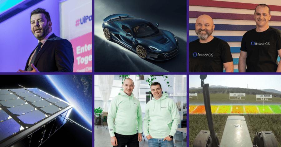 Startups in southeast europe collage - UiPath, Rimac, FintechOS, EnduroSat, Payhawk, Augmenta