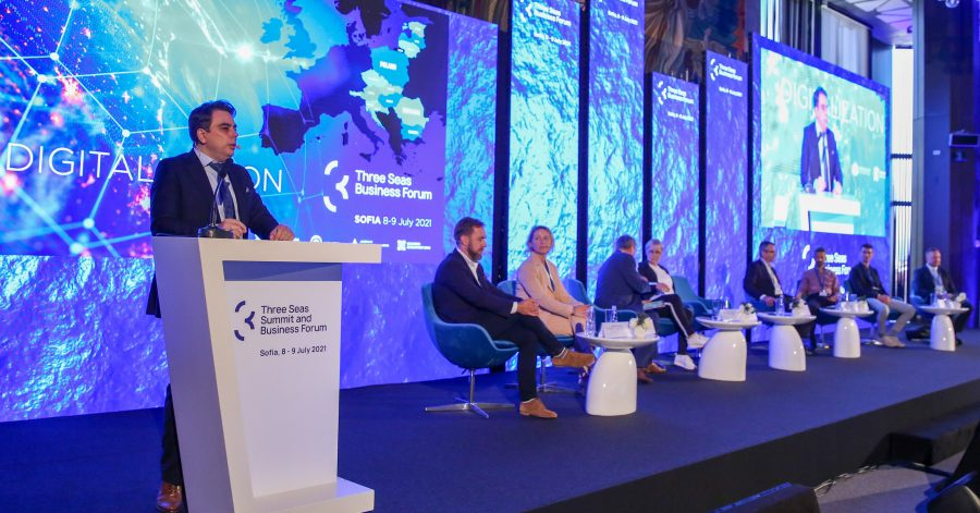 The panelists discussing digital transformation at the Three Seas Forum