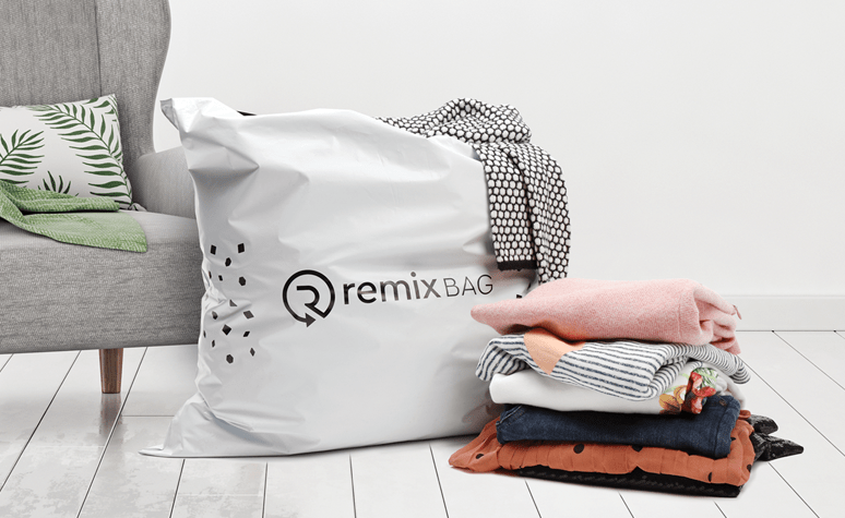 Remix bag that is sent to user to collect unwanted clothing for further resale, company website