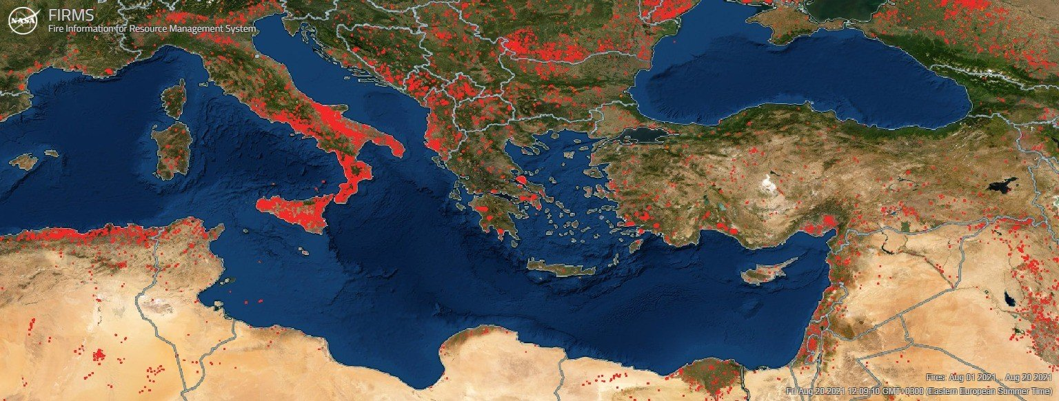 The summer 2021 wildfires in Southeast Europe according to the FIRMS satellite system.