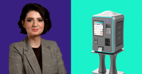 Madalina Ilie, founder of Manna Food Solutions, with a prototype of the Reebo, the 3D printing vending machine